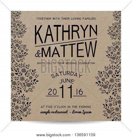 Elegant monochrome wedding invitation card on kraft paper