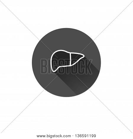 Flat long shadow liver icon. Human abdomen internal organs