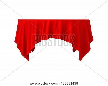 Empty round table with red tablecloth isolated on a white background, vector illustration.