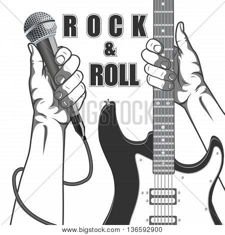 Hands holding a microphone and a guitar. Black and white vintage illustration