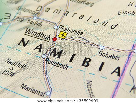 Map with focus set on Windhuk, Namibia.