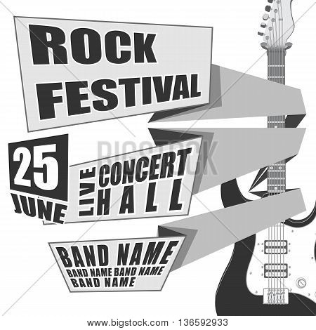 Rock festival event design for flyer, poster, invitation. illustration Electric guitar on back.