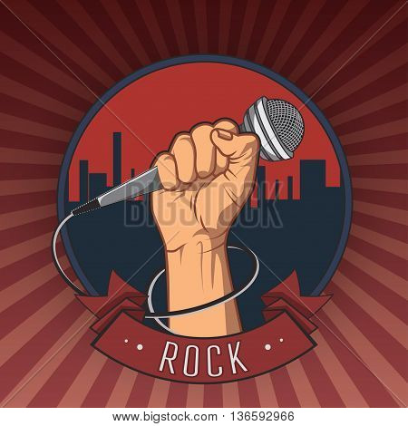hand holding a microphone in a fist retro rock poster