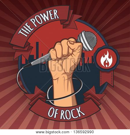 hand holding a microphone in a fist. the power of rock retro poster. illustration
