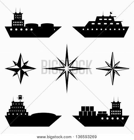 monochrome collection of ships icons vector illustration abstract high quality