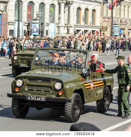 St. Petersburg, Russia - 9 May, Veterans in the car, 9 May, 2016. Holiday-action