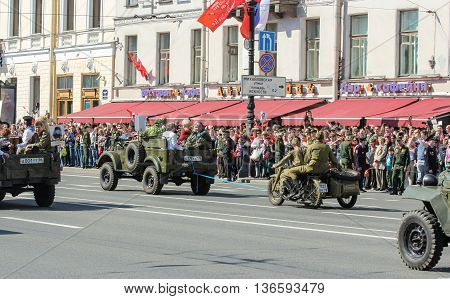 St. Petersburg, Russia - 9 May, Cars and motorcycles of the war years, 9 May, 2016. Holiday-action
