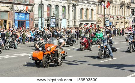 St. Petersburg, Russia - 9 May, The group of bikers on motorcycles, 9 May, 2016. Holiday-action