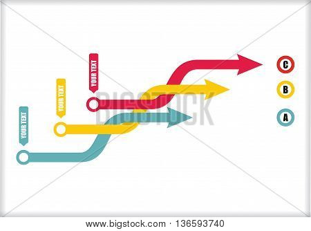 Vector flow chart template with color arrows