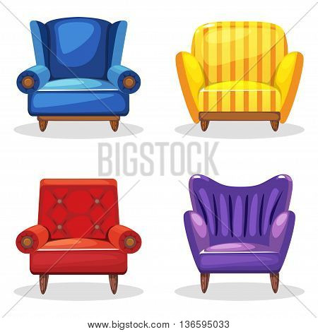 armchair soft colorful homemade, set 5 in vector