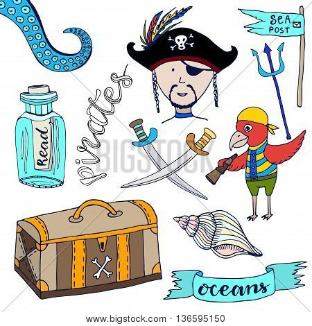 Cartoon pirates set. Hand drawn kids collection. Doodle vector illustrations pirate and parrot.