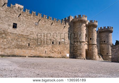 Towers and battlements of the Order of the Knights Castle in Rhodes Greece
