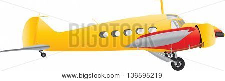 A Yellow and Red Veteran Airliner isolated on white