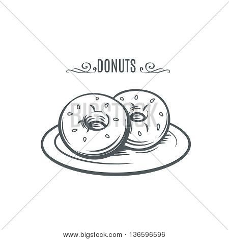 Hand drawn donuts. Decorative icon with donuts. Ink Vector Illustration donuts on a plate.