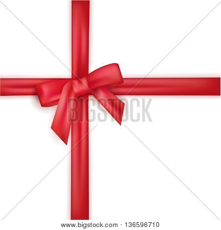 Red packaging bow ribons. Vector isolated red bow for a festive design.