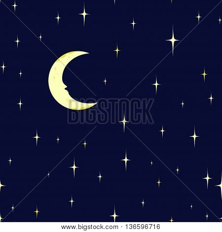 Seamless pattern starry night sky and moon. Vector background.