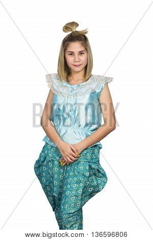 Women wore blue Thailand So happy on white background
