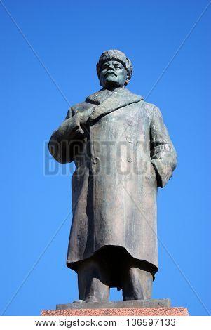 RYBINSK RUSSIA - SEPTEMBER 13 2015: Monument to Soviet leader Vladimir Lenin on the street of Rybinsk town, Russia.
