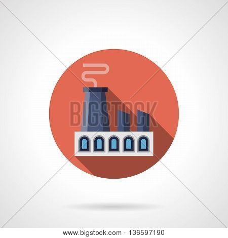 Industrial facilities. Factory with large chimney. Heavy industry symbol. Ecology and environment problems. Red round flat color style vector icon.