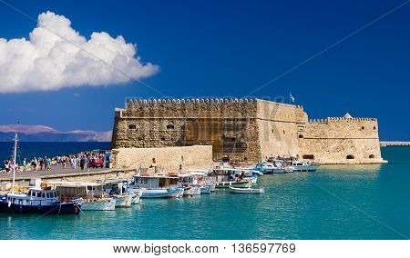 Port in the city of Heraklion. Crete