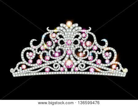 Illustration pink diadem feminine crown with jewels