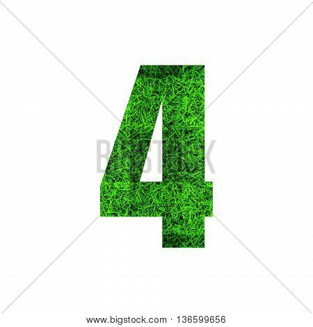 Number 4 (four) with green grass texture background.