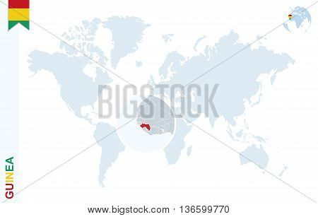 World map with magnifying on Guinea. Blue earth globe with Guinea flag pin. Zoom on Guinea map. Vector Illustration