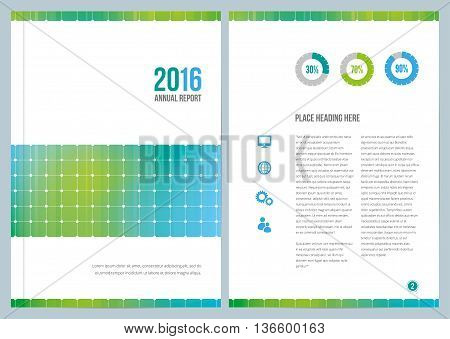 A modern annual report design for cover and an inside page