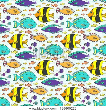 Vector doodle fishes pattern. Hand drawn marine seamless texture. Fabric swatch or kids textile.