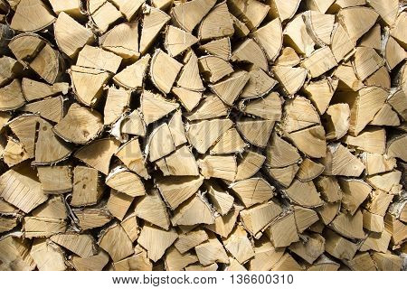 Photo of firewood. Firewood are stacked neatly - background, texture