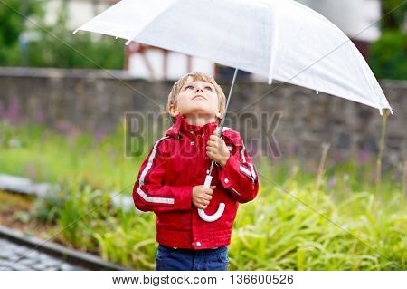 Little blond kid boy walking with big umbrella outdoors on rainy summer day. Child having fun outdoors with rain drops