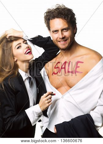 Happy Couple With Lipstick Sale Text