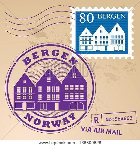 Stamp set with words Bergen, Norway inside, vector illustration