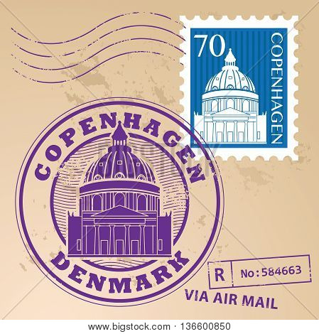 Stamp set with words Copenhagen, Denmark inside, vector illustration