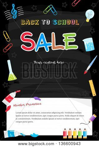 Colorful back to school sale poster on chalkboard theme with painting elements