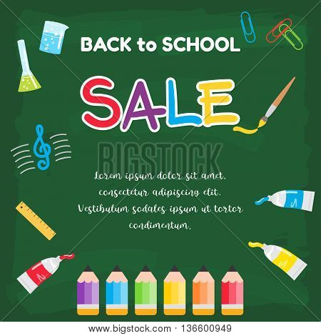 Colorful back to school sale poster on green chalkboard theme with painting elements