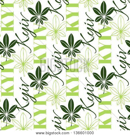 Seamless chestnut leaves pattern background with text Kyiv. Chestnut leaf is symbol of Ukraine capital