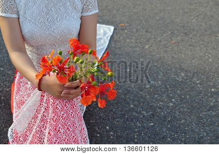 Vietnamese long dress with red poinciana flowers