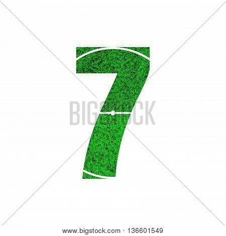 Number 7 (seven) with green grass texture background.