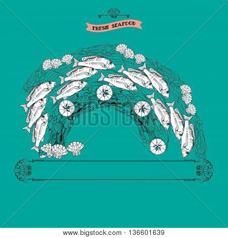 Vector seafood themed vintage composition with fishes, shells and place for your text on aquamarine background. Template menu, card, poster with marine decorative elements.