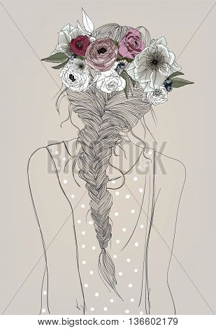 cute cartoon girl with braid and flowers