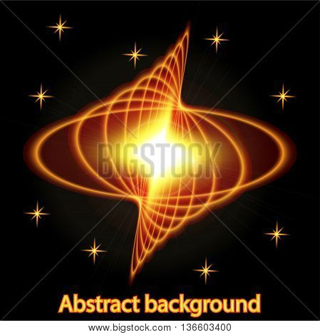 Abstract background with bright fire glowing geometric shapes
