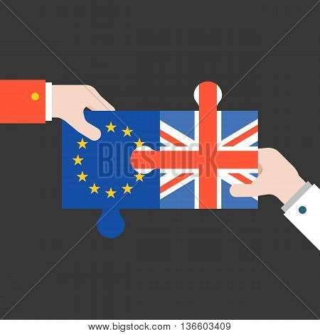 hand holding Britain and euro jigsaw puzzle, Brexit concept, flat design illustration vector