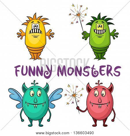 Set of Cute Different Cartoon Monsters, Colorful Characters with Sparklers, Elements for your Design, Prints and Banners, Isolated on White Background. Vector