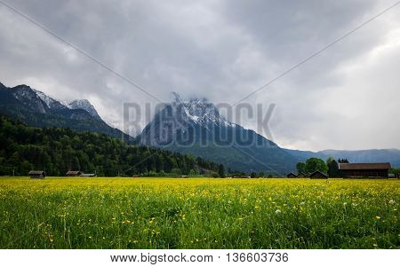 Alpine view from Garmish-Partenkirchen city in Bavaria Germany