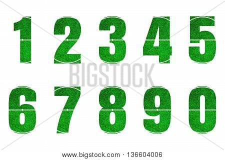Set of green grass background design number 1 to 0 isolated on white background