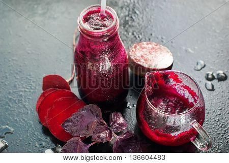 Fresh Juice Beet Smoothie Color Vegetables Bottles