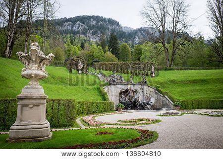 Famous Linderhof Garden in Bavaria Germany 2016