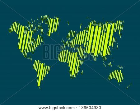 World map mosaic of highlighted green blocks with rounded corners on dark blue background. Vector map of the World. Modern background world design.