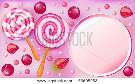 Sweet fruit beautiful background with strawberries and cherries and chocolates candies and place for text